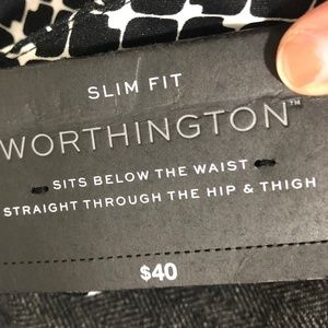 Worthington Pants - NWT Worthington Slim Fit 8 P Dress Pants blk white